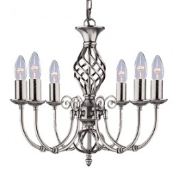 Searchlight 6 light Zanzibar satin silver fitting