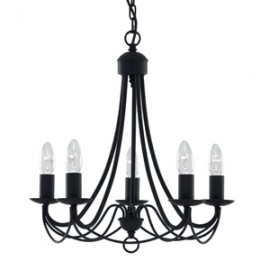Searchlight 5 light Maypole fitting in black