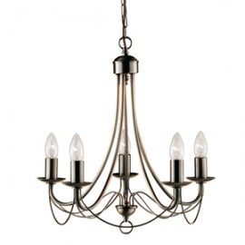 Searchlight 5 light Maypole fitting in antique brass