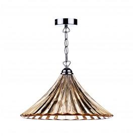 Dar Ardeche 1 light large pendant amber glass
