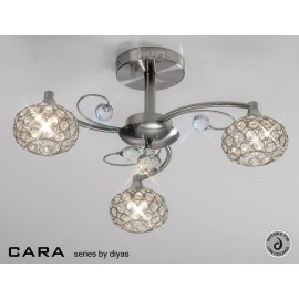 Cara Diyas 3 light flush ceiling fitting satin nickel
