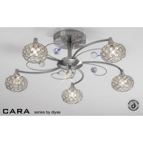 Cara Diyas 5 light flush ceiling fitting satin nickel