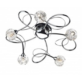 Dar Zelda Swirl 5 light polished chrome flush fitting