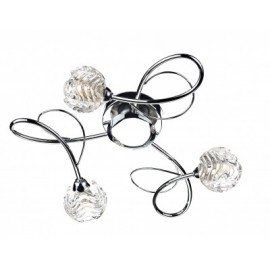 Dar Zelda Swirl 3 light polished chrome flush fitting