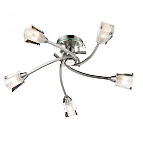 Dar Austin 5 light semi flush Satin chrome square shaped glass