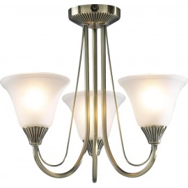 Dar Boston 3 light semi flush antique brass opal glass shades