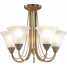Dar Boston 5 light semi flush antique brass opal glass shades