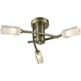 Dar Morgan 3 light semi flush antique brass