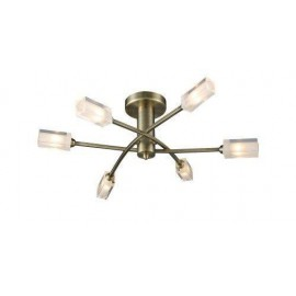 Dar Morgan 6 light semi flush antique brass