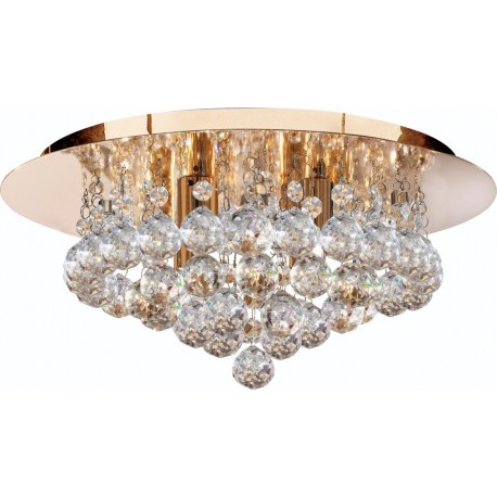 Searchlight 4 light Hanna Flush fitting in Gold with crystal ball decoration
