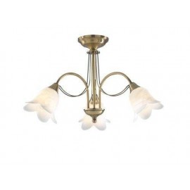 Dar Doublet 3 light semi flush antique brass