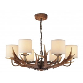 Dar Antler British Made 6 light pendant complete with cream shades
