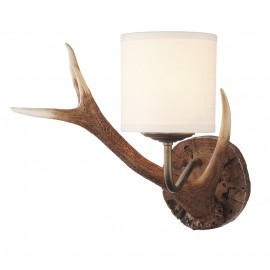 Dar Antler British Made wall light rustic finish