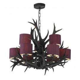 Dar Antler 9 light tiered pendant black finish