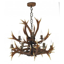 Dar Antler 9 light tiered pendant rustic highland finish