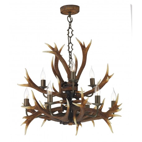 Dar Antler 9 light tiered pendant rustic highland finish