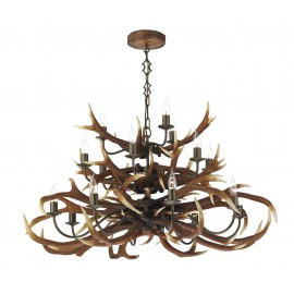 Dar Antler 17 light tiered pendant rustic highland finish