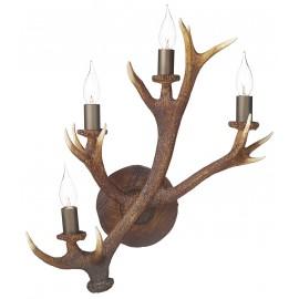 Dar Antler 4 light wall candelabra rustic highland finish
