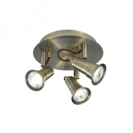 Searchlight 1223AB Eros 3 light round spotlight Antique brass