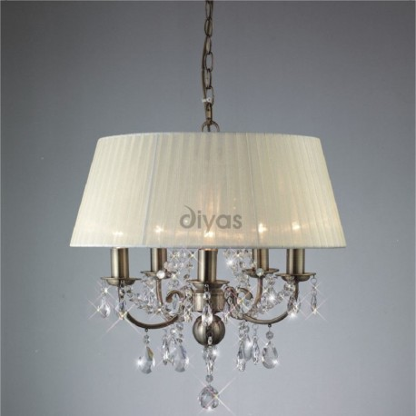 Inspired Diyas olivia 5 light antique brass with ivory gauze shade chandelier