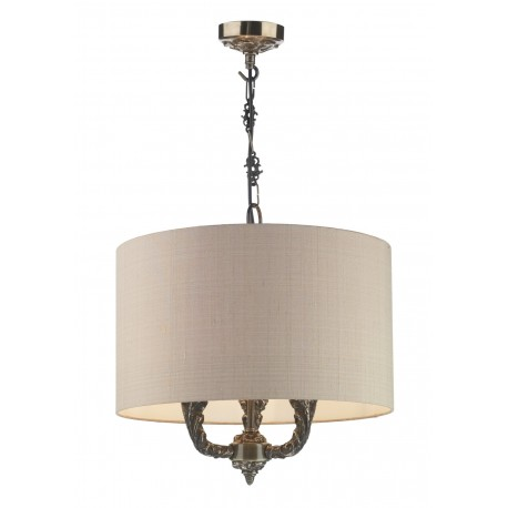 DAVID HUNT LIGHTING, Valerio 3 light bronze pendant complete with taup silk shade