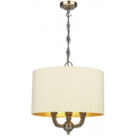 DAVID HUNT LIGHTING, Valerio 3 light bronze pendant complete with gold lined silk shade