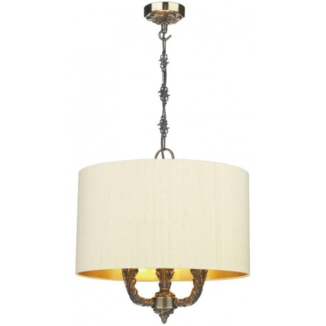 DAVID HUNT LIGHTING, Valerio 3 light bronze pendant complete with gold lined silk shade