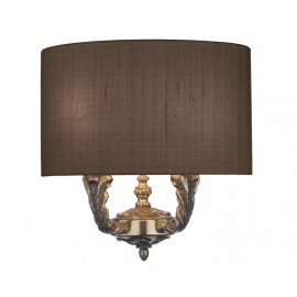 DAVID HUNT LIGHTING, Valerio 2 light wall washer with gold lined silk shade