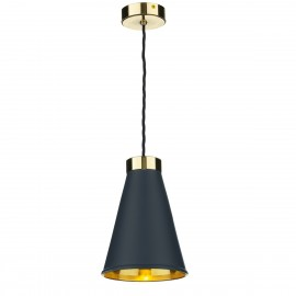 DAVID HUNT LIGHTING, Hyde 1 light pendant in polished brass with smokey blue metal shade