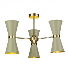 DAVID HUNT LIGHTING, Hyde 6 light pendant in polished brass with pebble metal shades