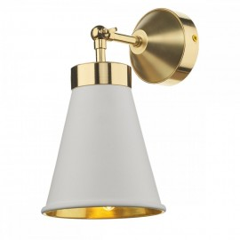 DAVID HUNT LIGHTING, Hyde single wall light in polished brass with arctic white metal shade