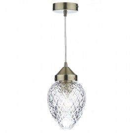 DAR LIGHTING Agatha 1 light antique brass pendant