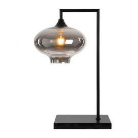 Eden POWER  Table Lamp in Black with Smoked Squashed Glass