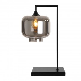 Eden POWER  Table Lamp in Black with Smoked Tub Glass
