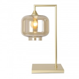 Eden POWER  Table Lamp in Gold with Amber Tub Glass