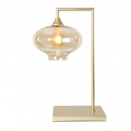Eden POWER  Table Lamp in Gold with Amber Squashed Glass