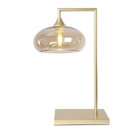 Eden POWER  Table Lamp in Gold with Amber Mushroom Glass