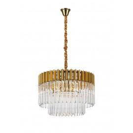 Venetian 8 Light Pendant Brass And Clear Glass