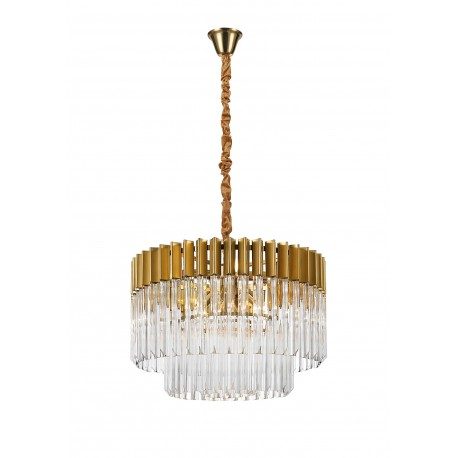 Venetian 8 Light Pendant Brass And Clear Glass