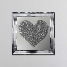 Crushed Crystal Silver Heart