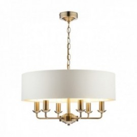 Sorrento Antique Brass Ceiling Light with Ivory Shade