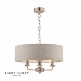 Sorrento Brushed Chrome Ceiling Light with Natural Shade